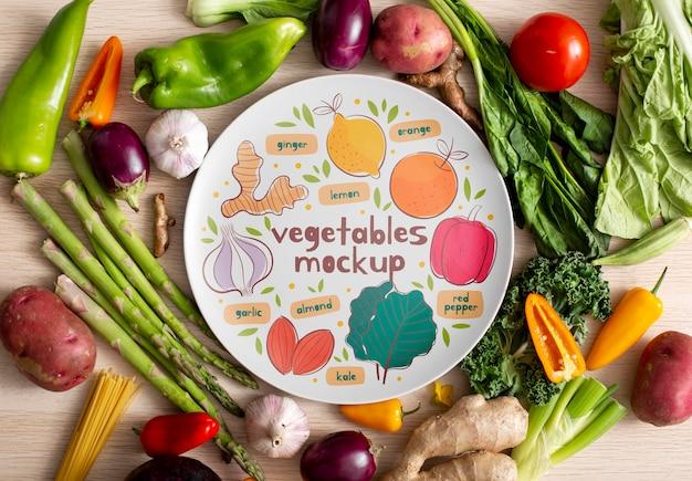 Bovenaanzicht van gezonde groenten concept mock-up