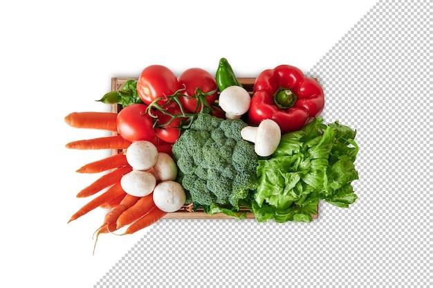 Bovenaanzicht van groente in houten kist, mockup