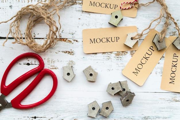 Bovenaanzicht van handgemaakte concept mock-up