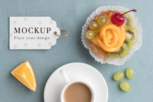 Bovenaanzicht van heerlijke bakkerij concept mock-up