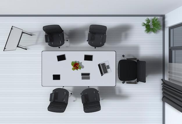 Bovenaanzicht van het interieur van een conferentieruimte