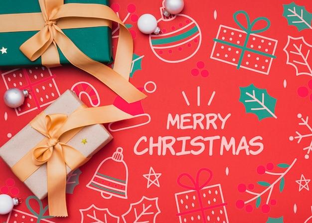 Bovenaanzicht van het model van het kerstmisconcept