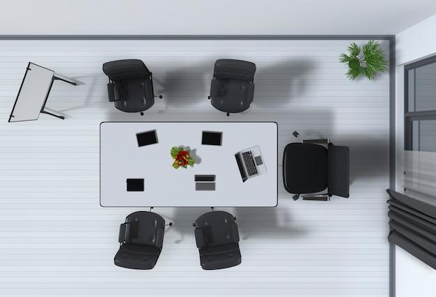 Bovenaanzicht van interieur modern kantoor in 3d-rendering