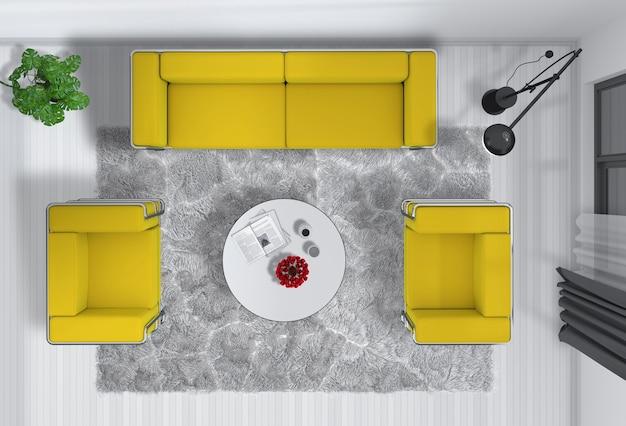 Bovenaanzicht van interieur moderne kamer in 3d-rendering