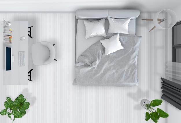 Bovenaanzicht van interieur slaapkamer met desktopcomputer