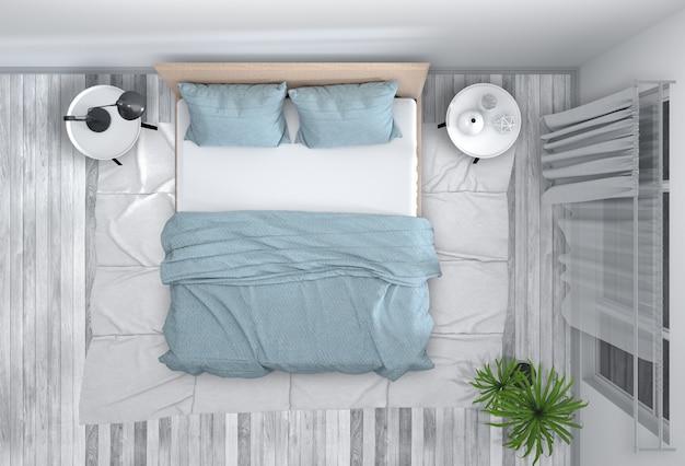 Bovenaanzicht van interieur slaapkamer