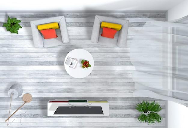 Bovenaanzicht van interieur woonkamer met smart tv
