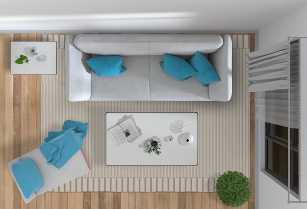 Bovenaanzicht van interieur woonkamer
