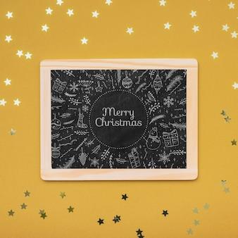 Bovenaanzicht van kerst concept schoolbord