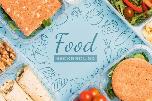 Bovenaanzicht van maaltijden voor geplande voeding