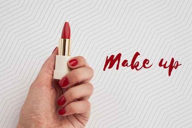 Bovenaanzicht van make-up concept mock-up