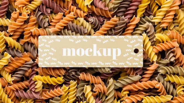 Bovenaanzicht van mock-up frame-ontwerp met pasta