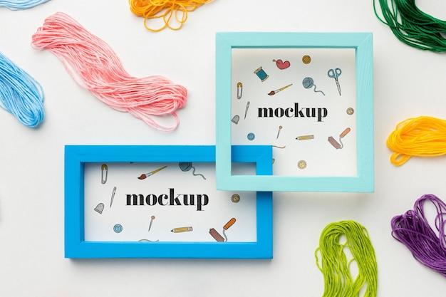 Bovenaanzicht van mock-up frames ontwerp met draad
