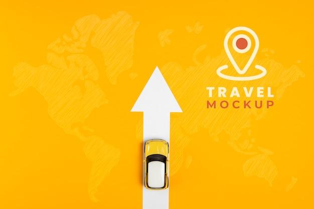 Bovenaanzicht van mock-up voor reisconcept
