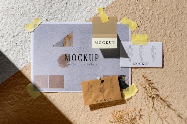 Bovenaanzicht van mooie herfst moodboard mock-up