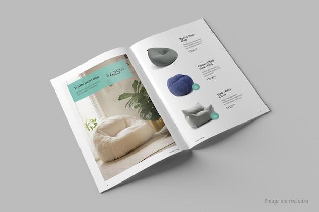 Bovenaanzicht van open brochure of catalogusomslagmodel