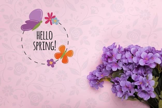 Bovenaanzicht van paarse lente phlox