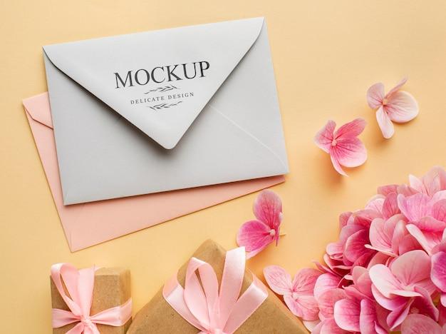 Bovenaanzicht van prachtige bruiloft concept mock-up