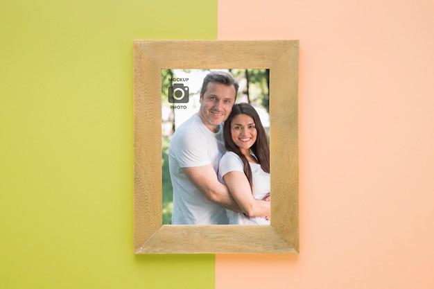 Bovenaanzicht van rechthoekig frame voor foto's