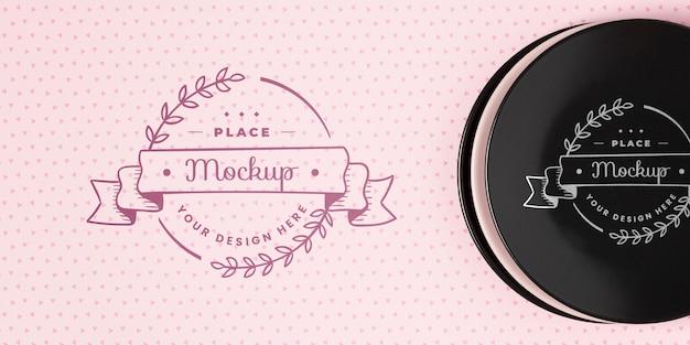 Bovenaanzicht van servies concept mock-up