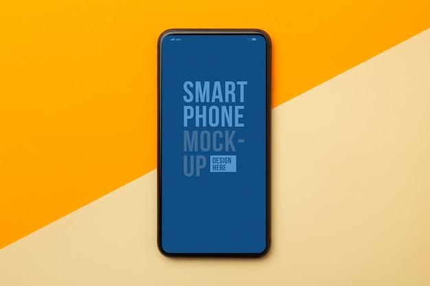Bovenaanzicht van smartphone-interface mockup