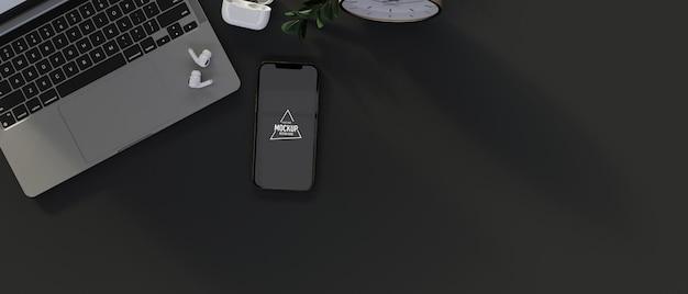 Bovenaanzicht van smartphone met mock-up scherm, laptop, benodigdheden en kopieerruimte, 3d-rendering, 3d-illustratie