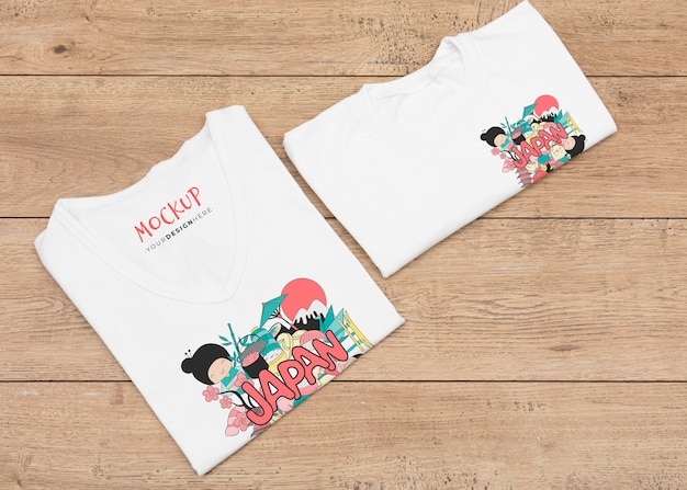 Bovenaanzicht van t-shirt concept mock-up
