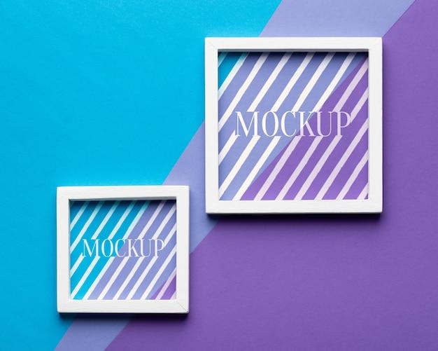 Bovenaanzicht van twee mock-up frames