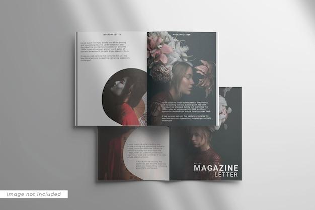 Bovenaanzicht van twee tijdschriftbrieven met overlay