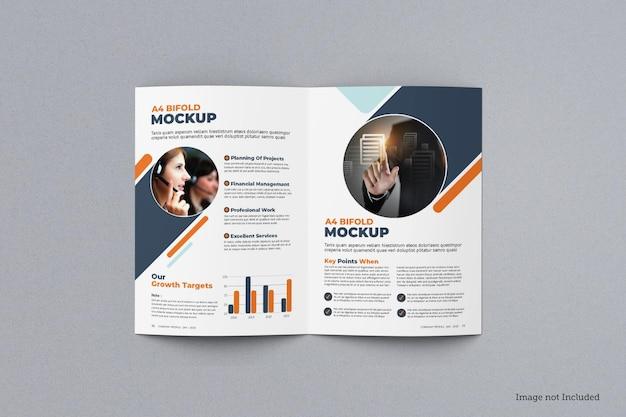 Bovenaanzicht van tweevoudig brochuremodel
