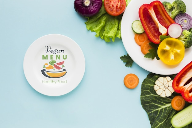 Bovenaanzicht veganistisch menu met biologische groenten