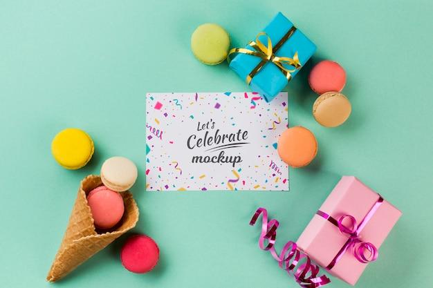 Bovenaanzicht verjaardag concept met cadeautjes