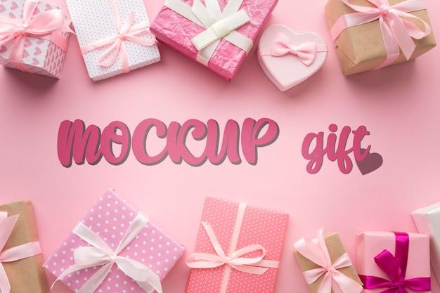 Bovenaanzicht verschillende geschenkdozen mock-up