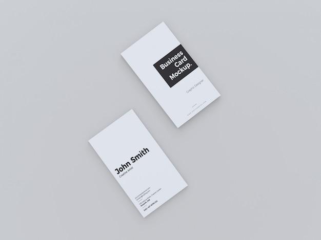 Bovenaanzicht verticale visitekaartje mockup