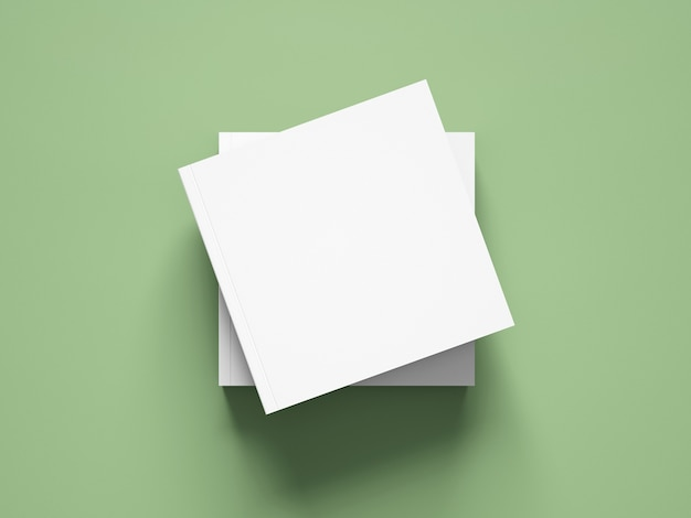 Bovenaanzicht vierkante boekomslag mockup