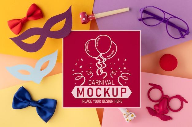 Bovenaanzicht vierkante mock-up met carnavalaccessoires