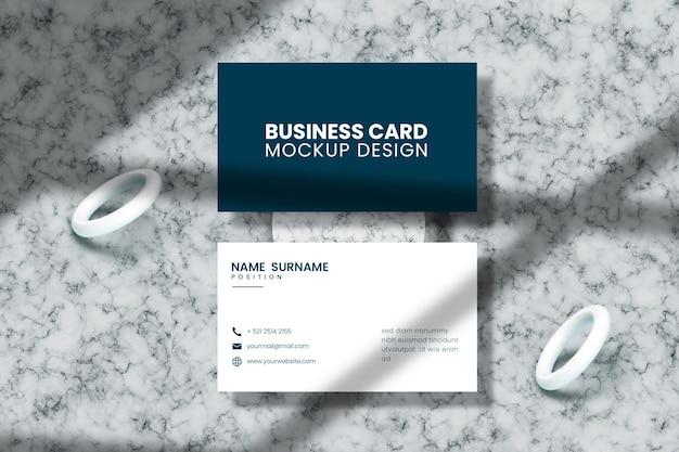Bovenaanzicht visitekaartje mockup in 3d-rendering