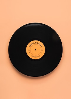 Bovenaanzicht zwart vinyl mockup