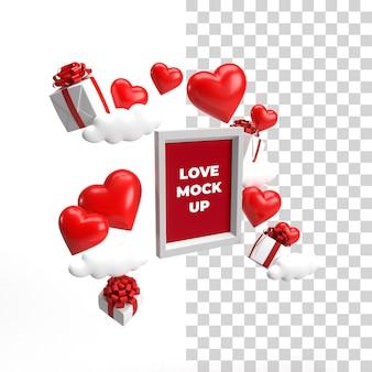 Bovenaanzicht zwevend frame mockup valentijn concept