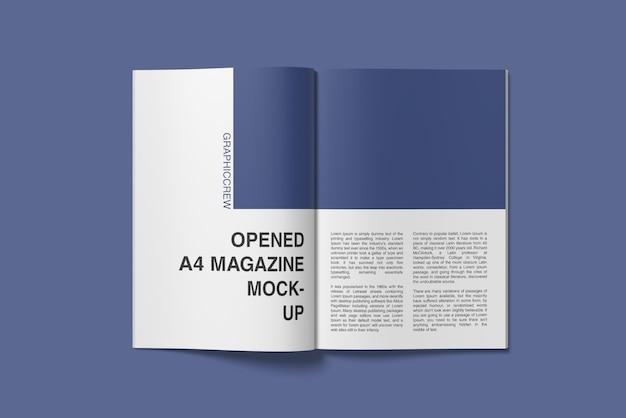 Bovenhoekweergave van a4-tijdschriftmodel geopend