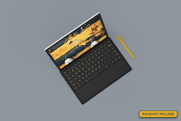 Bovenste hoekopname van realistisch tabletmodel