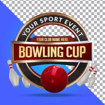 Bowling 3d render samenstelling geïsoleerde laag