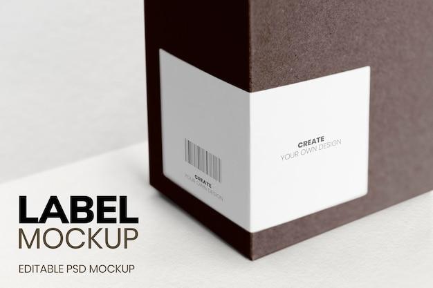 Box label mockup psd minimaal ontwerp