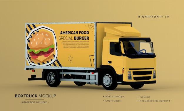 Box truck car mockup rechts vooraanzicht