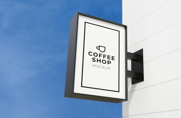 Box uithangbord logo op muur mockup