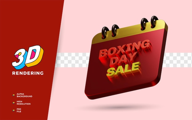 Boxing day sale evenement winkelen dag korting festival 3d render object illustratie