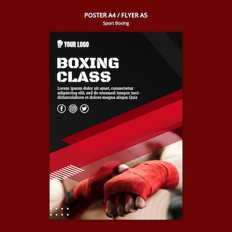 Boxing klasse flyer afdruksjabloon