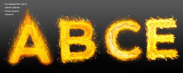 Brand alfabet tekst effect