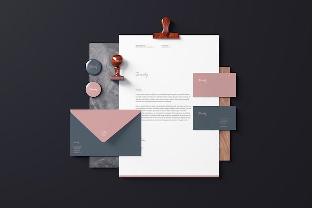 Branding briefpapier mockups