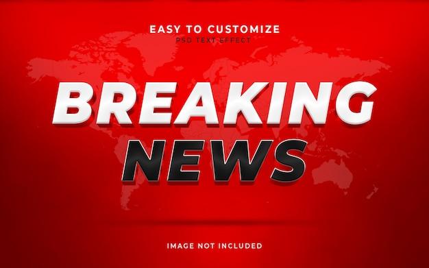 Breaking news escena personalizada de efecto de estilo de texto en 3d maqueta